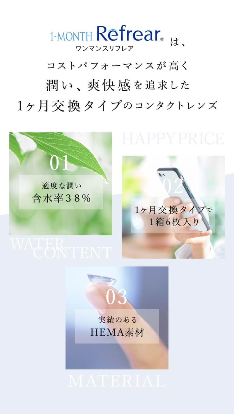 ワンマンスリフレア(1month Refrear)(6枚入)潤い・爽快感を追求した1か月交換タイプのクリアレンズ