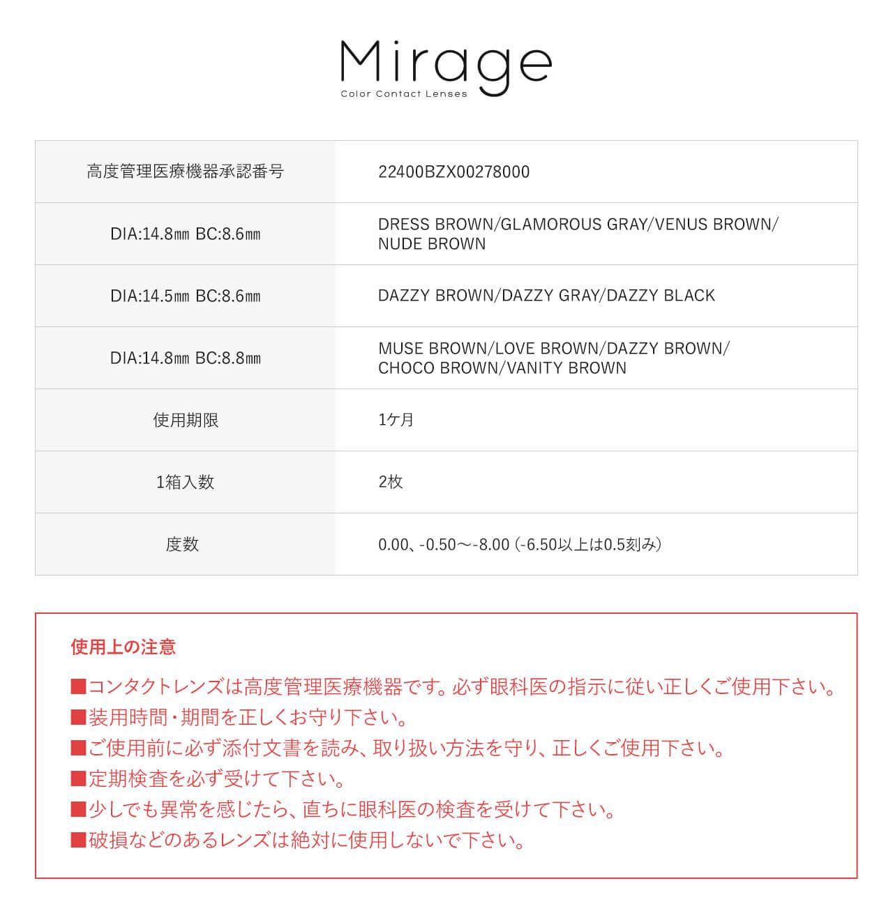 Mirage(ミラージュ)1Month(2枚入)1ヶ月