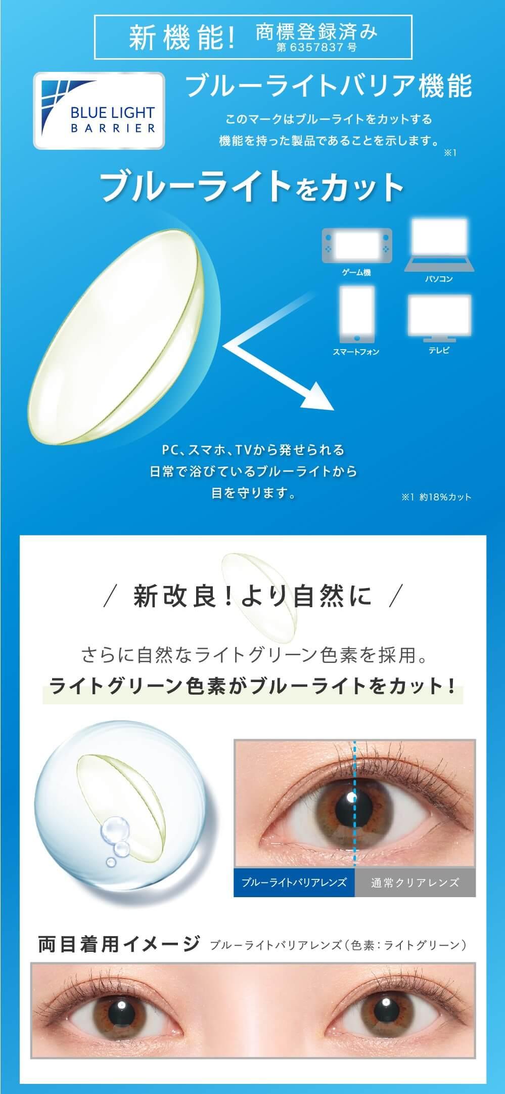 レヴィアBLBカラー 1DAY 10枚 業界初ブルーライト軽減レンズ 新機能商標登録済