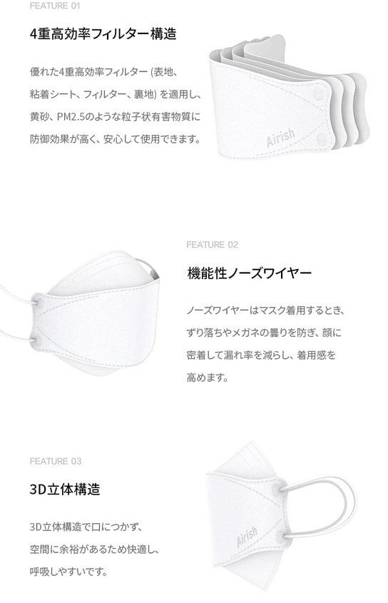 エアリッシュ プラス Airish plus CLEAN SHIELD Health Mask KF94(1枚)4層構造 3D立体型