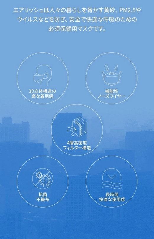 エアリッシュ プラス Airish plus CLEAN SHIELD Health Mask KF94(1枚)