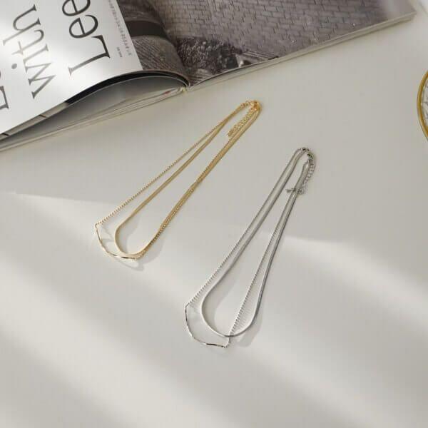 シンプル2連ネックレス